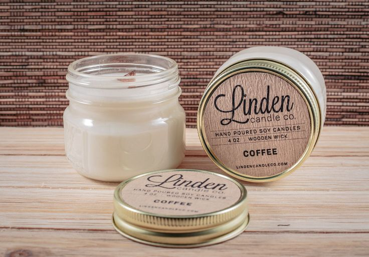 COFFEE scented candle // 4oz mason jar soy candle// Hand Poured and Handmade in California. All Natural, Eco Friendly,Luxury candle by LindenCandleCompany on Etsy