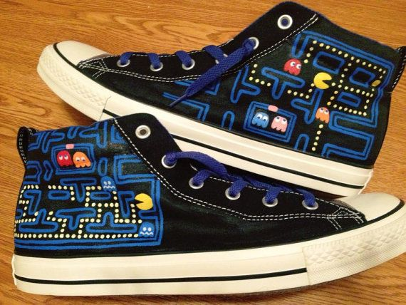 7b48112a1756 Pacman Hand Painted Custom Converse Shoes by CandysCustomPaints ...