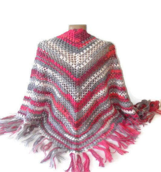 crochet wrap shawl pink and gray 2014 spring by senoAccessory, $65.00