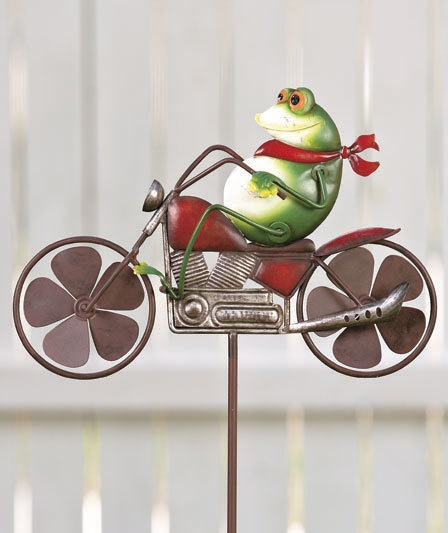 New Frog On A Motorcycle Metal Winder Spinner Lawn Garden Yard Stake $21.99  · Garden SpinnersWind ...