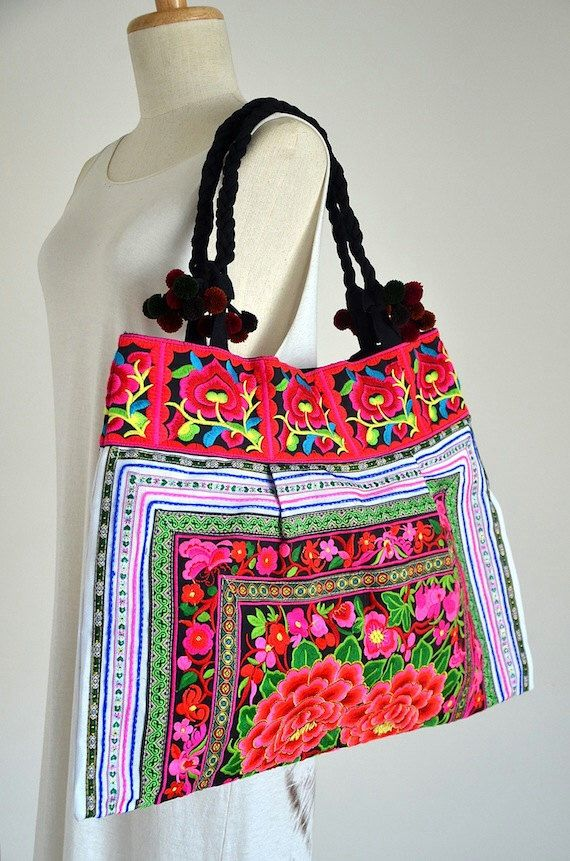Women Handcrafted in Red Floral Bag Hmong Bag Hill Tribe Bag Embroidered Bag Shopping Tote with Pom Pom Cotton Straps Ethical Product by Dollypun on Etsy https://www.etsy.com/listing/157312648/women-handcrafted-in-red-floral-bag