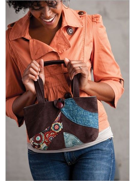 Corduroy Patchwork Handbag. The patchwork handbag is the perfect project for using up fabric scraps and highlighting some of your favorite prints.   It has a simple button closure and a pretty print lining to safely hold your essentials. | InterweaveStore.com