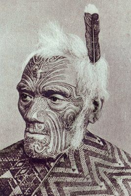 New Zealand | Maori warrior with moko face; Ta moko: traditional technique of body decoration (and different from tattoo) through marking skin by carving with a chisel (uhi); men usually received moko on faces, buttocks and thighs |  19th century | Photographer ? (Prismatic Pictures)