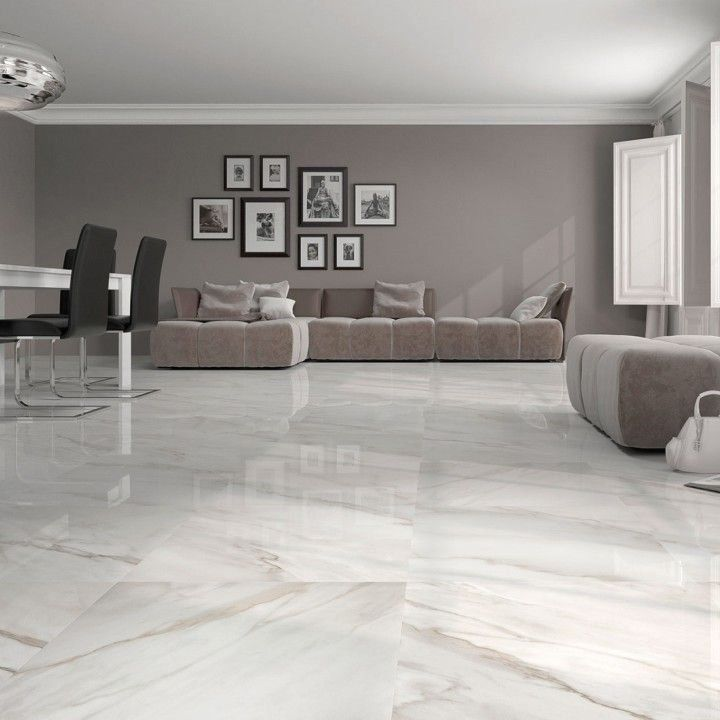 Calacatta White Gloss Floor Tiles Have An Attractive Marble Effect Finish These 1000 In 2020 Living Room Tiles Floor Tile Design White Marble Floor