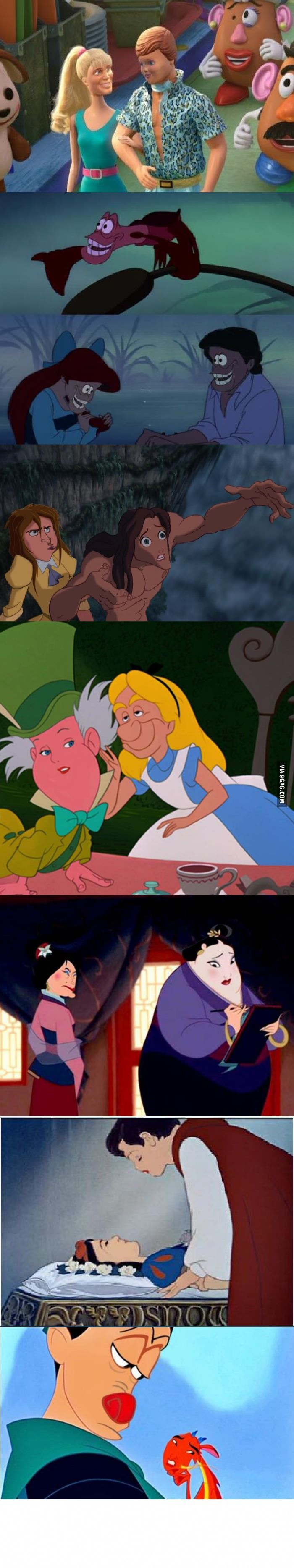 Disney face swap- Oh, the horror! I especially like the Alice in Wonderland one :D