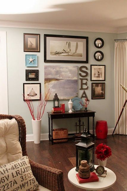 love this nautical art grouping! Could do this with pictures of from our cruise and fits my Coastal chic decor