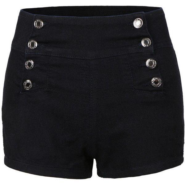 Womens High Waisted Sailor Nautical Denim Jean Shorts found on Polyvore