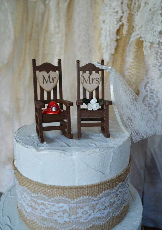 Fire fighter wedding cake topper firefighter by MorganTheCreator