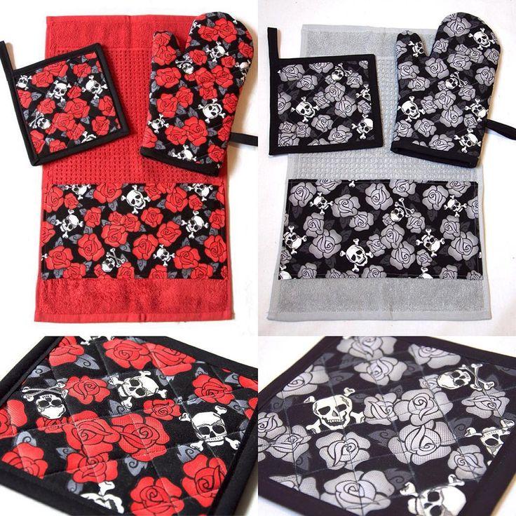 Red + Grey Skulls & Roses Kitchen Sets by Pornoromantic www.pornoromantic.etsy.com #pornoromantic #etsy #kitchen #potholder #ovenmitt #towel #homedecor #homeaccessories #skulls #roses #skull #red #grey