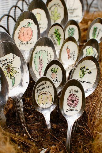 Recycle spoons to make plant and vegetable markers. #recycle #reuse