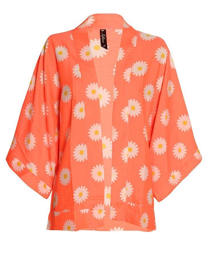 Sun Flower Print Kimono - TOPS