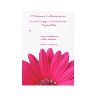 Pink Gerbera Wedding Reply Card Personalized Invitation