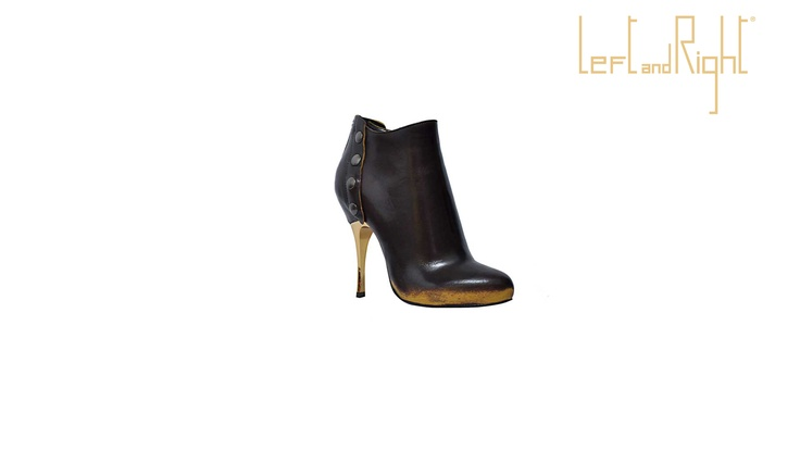 Ankle boot Smoke coffee, heel 10 cm galvanized, brass studs, leather sole with rubber injection on the plant.