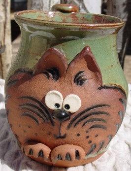 Handmade pottery cat coffee mug.