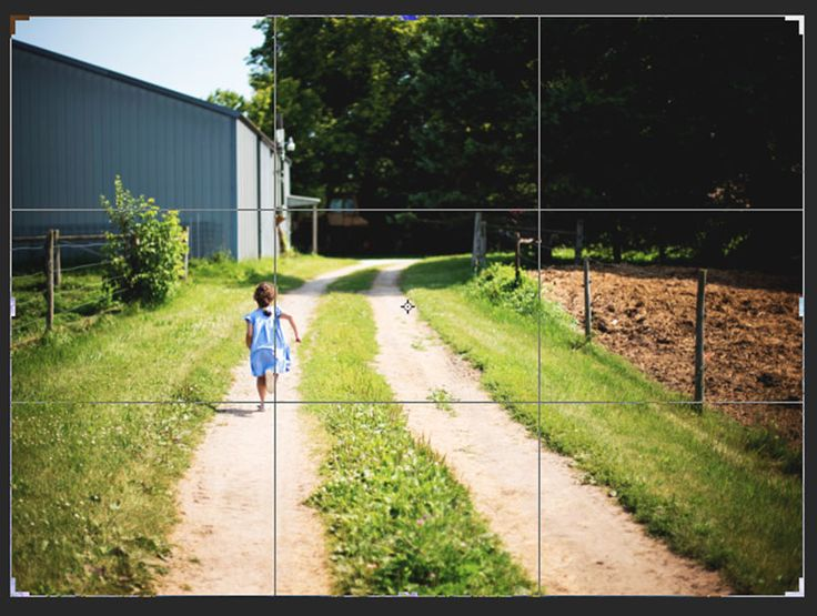 A photography tutorial illustrates the rule of thirds, ROT. In this image a girl runs down a country lane. She is positioned in the left third of the frame.