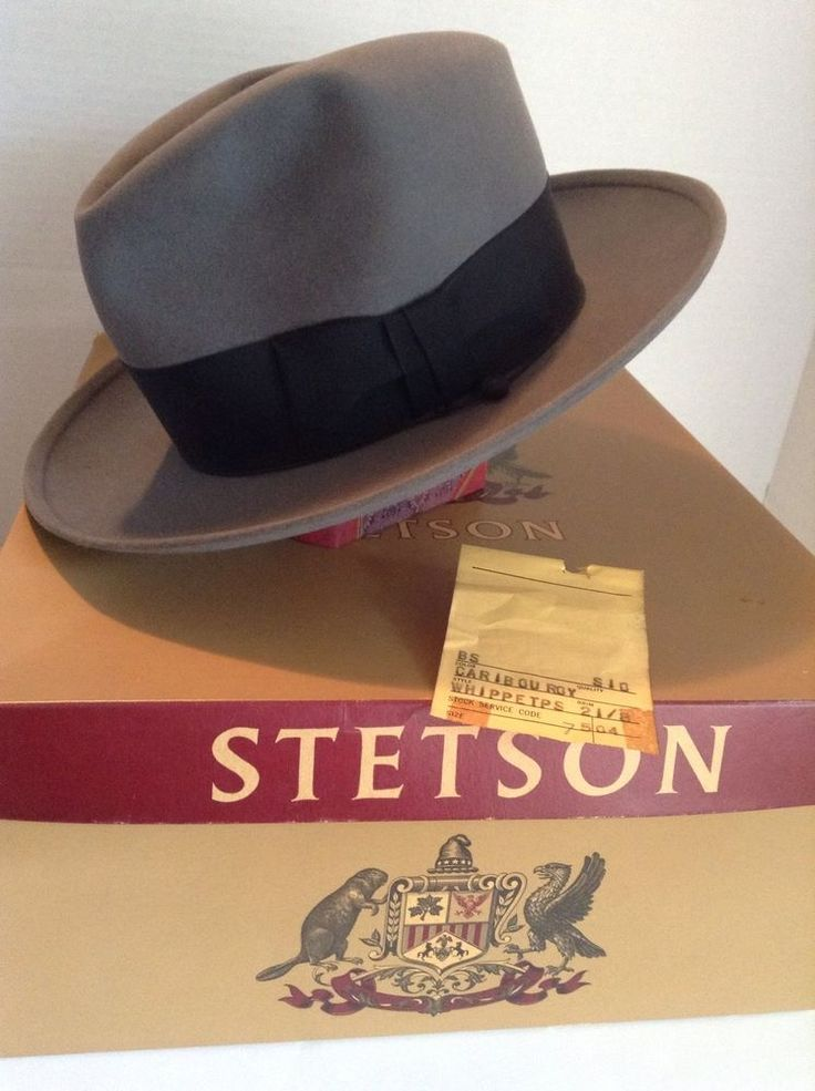 Vintage STETSON Hat Fedora. Gray Caribou Whippet with Box and Tags. 1940s/50s Size 7 #eBay #Vintage #Hats