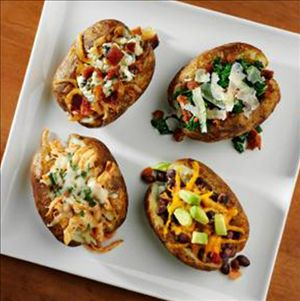 Baked Potato Toppers with Cheeses : Baked potato four ways! Each of these options will take your baked potato outside the box. Featuring Stella® Blue cheese, your potato loving family will be happy you didn't leave off the best ingredient.