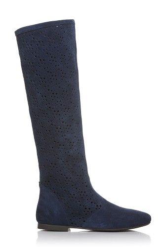 Cizme bleumarin perforate din piele intoarsa DM1611 -  Ama Fashion
