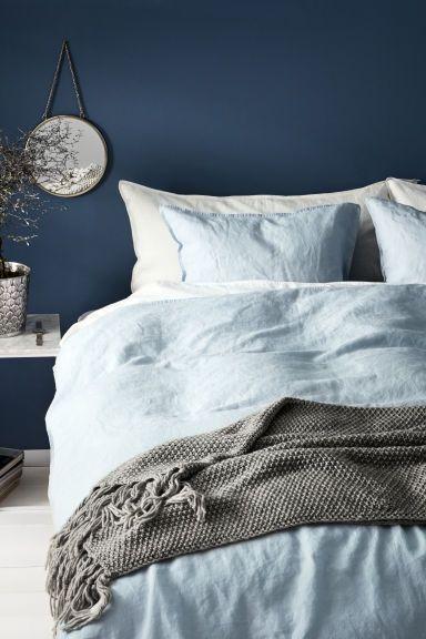 Parure de couette en lin lavé - Bleu clair - Home All | H&M FR 1
