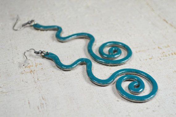 Aluminium  Earrings enamelled teal aluminium wire by Violanima