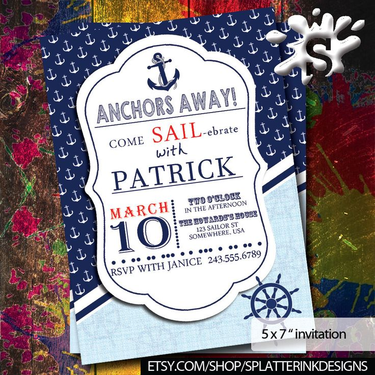 Boys Birthday Invitations | Nautical Invite | Boys Birthday | Party Invites | Party Invitations | Sailor Birthday Party by SplatterInkDesigns on Etsy https://www.etsy.com/listing/490010807/boys-birthday-invitations-nautical