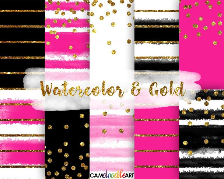 Watercolor and Gold Digital Paper Pack,Black and Pink, Gold Confetti, Modern Pattern, Stripes Pattern, Scrapbooking Paper,Watercolor Stripes by CamDoodleArt on Etsy