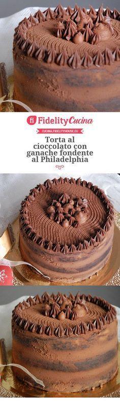 Torta al cioccolato con ganache fondente al Philadelphia