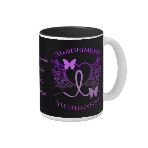 Alzheimers Awareness Purple Butterflies Mug 2