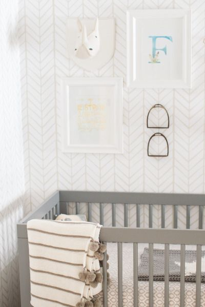 Wallpaper.  Neutral nursery: http://www.stylemepretty.com/living/2015/05/04/a-gender-neutral-nursery-for-twins/ | Photography: Conrhod Zonio - http://www.conrhodzonio.com/