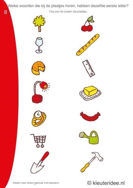 Welke woorden van de plaatjes hebben dezelfde beginletter 8 , kleuteridee.nl, free printable.