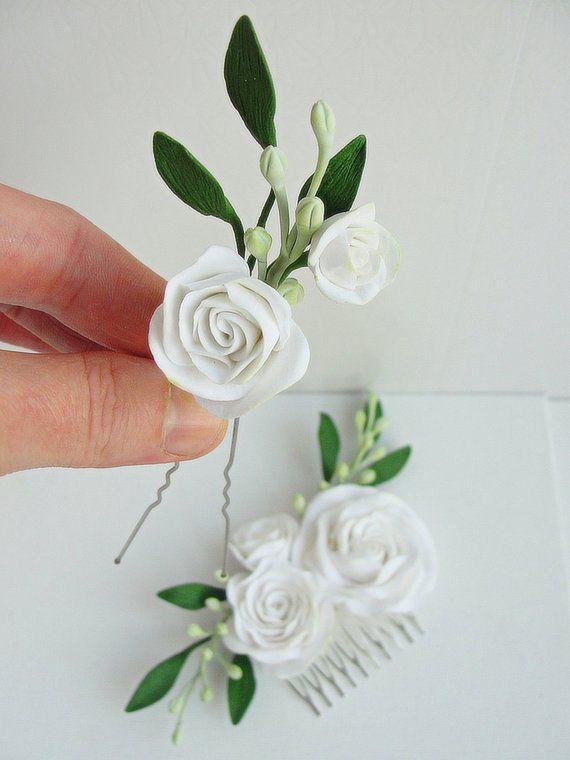 White Rose Hair Flower Pin Flower Clips White Flower Barrette