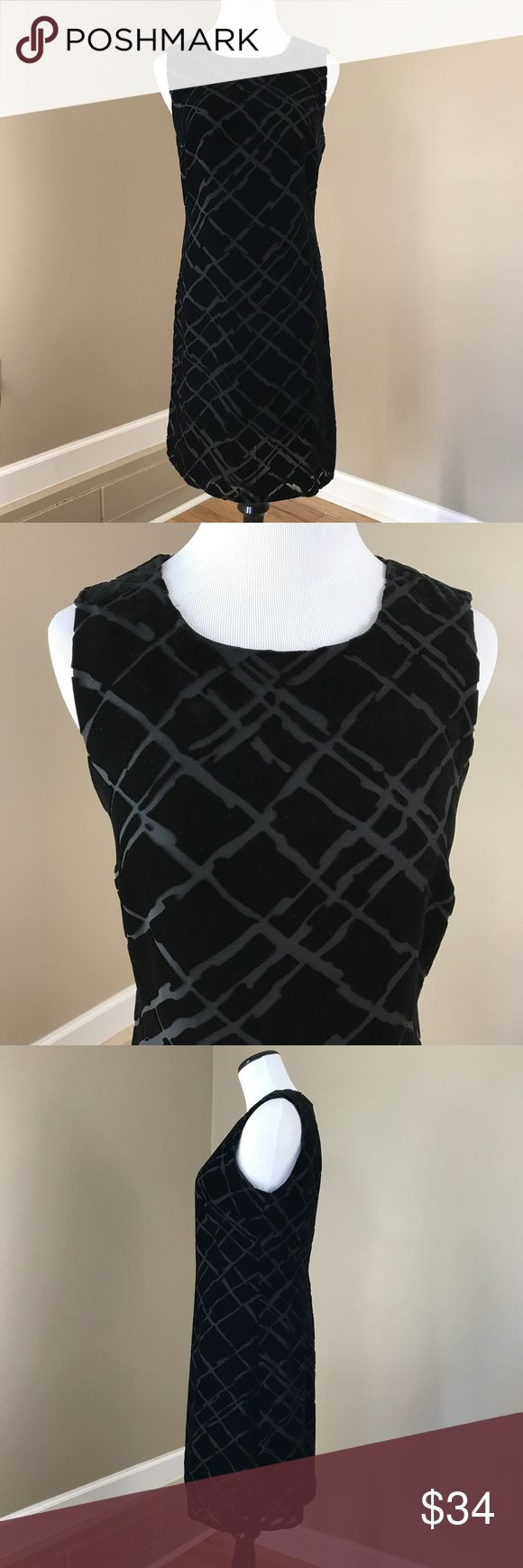 "Vintage Tessuto Black Sleeveless Velvet Dress Made of Rayon and silk. This dress is great for a holiday party. Can be dressed up even more with. Statement necklace. Geometric pattern. Size unknown. Best guess is a medium. 36"" bust. 30"" waist. 37"" hips. 35"" long. Very good condition. Vintage Dresses Midi"