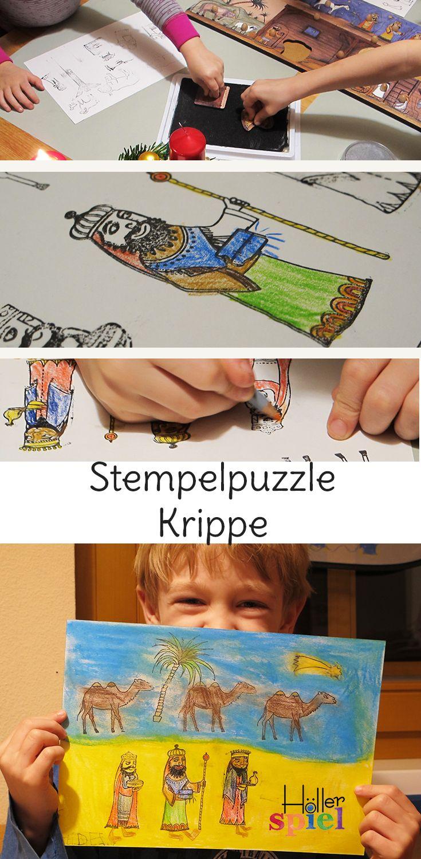 Das große Stempelpuzzle ist ideal um mit den Kindern die Weihnachtsgeschichte zu gestalten. Die Kinder stempeln sich ihre eigenen Ausmalbilder. Auch für Kindergarten und Schule ;)