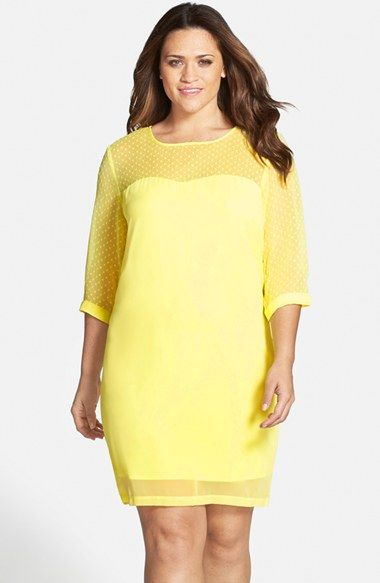 JUNAROSE 'Frenja' Illusion Detail Sheath Dress (Plus Size) available at #Nordstrom