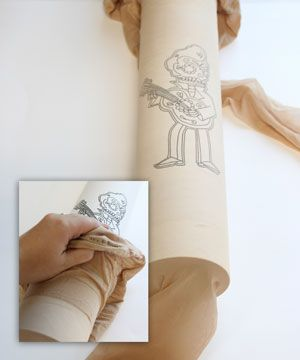 "homemade tattoo tights.  draw image onto ""nude"" colored tights with permanent marker."