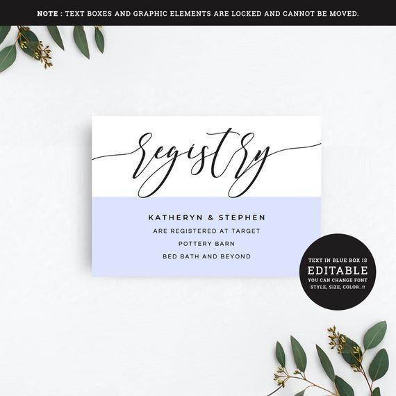 Registry Card Printable Wedding Registry Card Template Wedding Registry Card Template Diy In 2020 Wedding Registry Cards Diy Wedding Registry Registry Cards