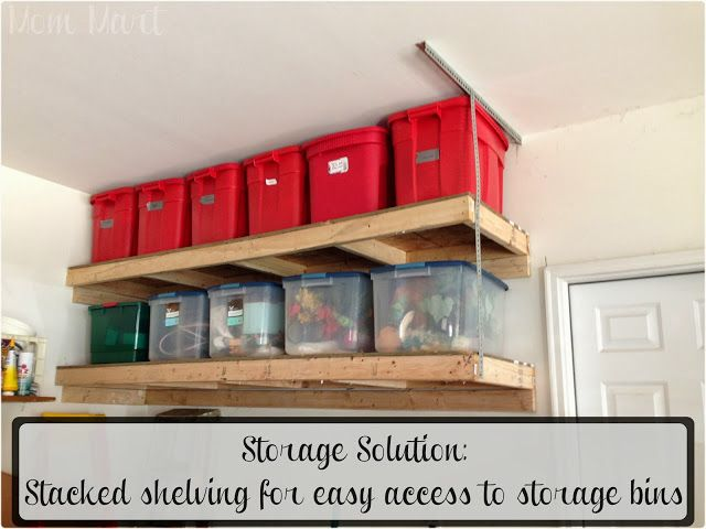 Storage Solution: Stacked Shelving For Easy Access To Storage Bins For The  Garage #Organization