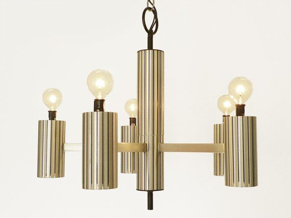 Vintage Brushed Aluminum Chandelier Dining Room By PopBam On Etsy 12000