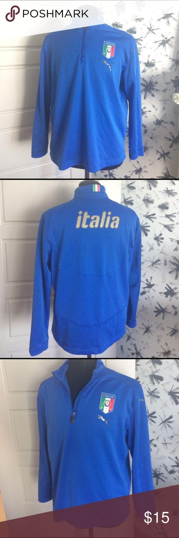 MENS PUMA ITALIA PULL OVER Men's blue puma pullover with italia on back-used condition Puma Shirts Sweatshirts & Hoodies
