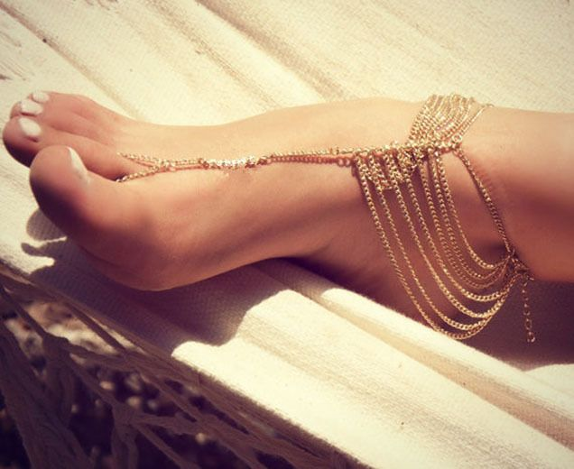 Multi Tassel Toe Chain Link Anklets