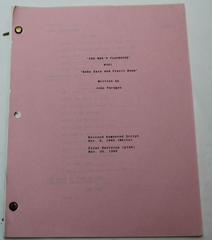 "This is an Original TV Script from the TV Series ""Pee-wee's Playhouse"". It's from Season 3, Episode 1. This Original script has pink colored revisions inside the script. It's 30 pages long. Title: Pee-wee's Playhouse. 