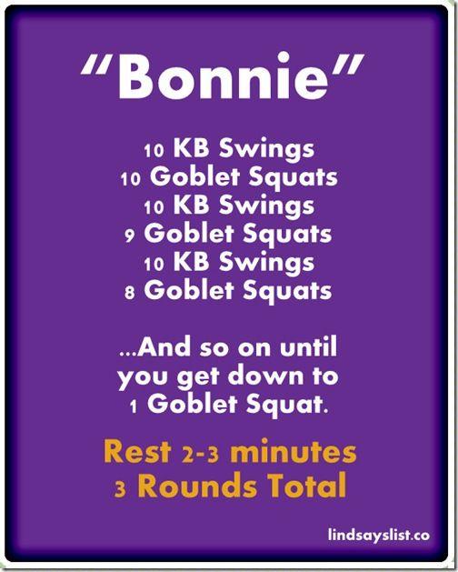 Kettlebell/Goblet Squat Workout via @lindsays_list