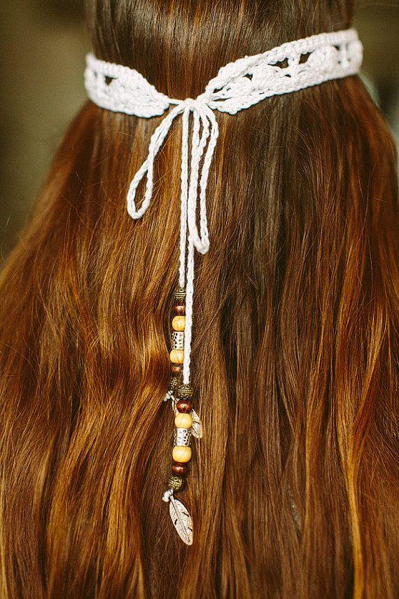 Boho crochet headband with beads by UrbanCosy on Etsy