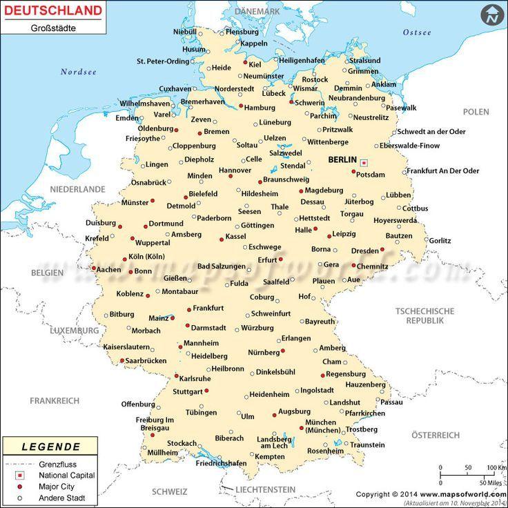 Deutschland Stadte Karte Deutschland Karte Map Stadte