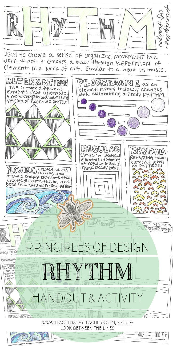 Rhythm Principles Of Design Mini Art Lesson Visual Art Worksheet
