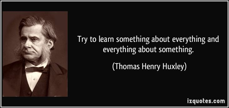 Try to learn something about everything, and everything about something.