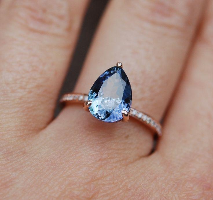 Diamond Wedding Rings : Tanzanite Ring. Rose Gold Engagement Ring Lavender Mint Tanzanite pear cut halo #MensFashionShoes