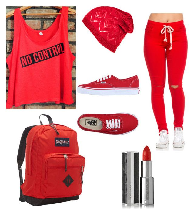 """""""red phase"""" by fabulouschloe on Polyvore featuring Vans, JanSport and Givenchy"""