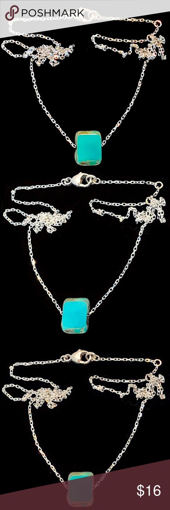 Authentic Turquoise Adjustable Chain Necklace Gorgeous! This beautiful, authentic turquoise necklace is made with certified sterling silver .925. This necklace can be worn at three lengths 14 inch, 15 inch, and 16 inches. This chain is bright and light-catching and the turquoise center pendant slides along the chain. Perfect for layering with other chains.necklace comes mint condition, brand-new in the package. K Accessories Jewelry Necklaces