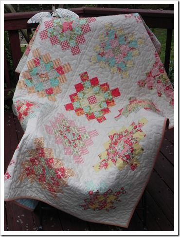 Make quilt for my girls rooms at the cottage out of scraps of clothing from my late Nannie.